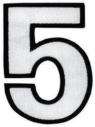 Nažehlovací vyšívaná čísla - pětka bílá, výška 8cm