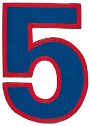 Nažehlovací vyšívaná čísla - pětka modrá, výška 8cm