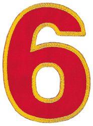 Nažehlovací vyšívaná čísla  - šestka červená, výška 8cm