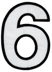 Nažehlovací vyšívaná čísla - šestka bílá, výška 8cm