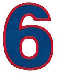 Nažehlovací vyšívaná čísla - šestka modrá, výška 8cm
