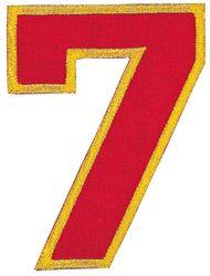 Nažehlovací vyšívaná čísla  - sedmička červená, výška 8cm