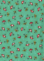Záplaty s potiskem - deštníky na zeleném podkladu