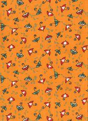 Záplaty s potiskem - deštníky na oranžovém  podkladu