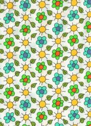 Záplaty s potiskem- kytičky zelené