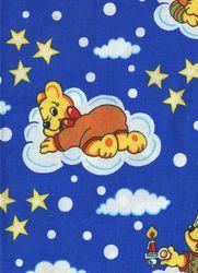Záplaty s potiskem - modrý medvídek lenoch