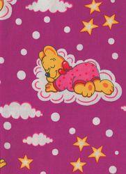 Záplaty s potiskem - růžový medvěd s mašlí