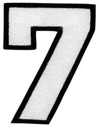 Nažehlovací vyšívaná čísla - sedmička bílá, výška 8cm