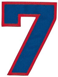 Nažehlovací vyšívaná čísla - sedmička modrá, výška 8cm