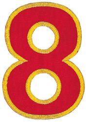 Nažehlovací vyšívaná čísla  - osmička červená, výška 8cm