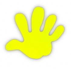 Reflexní samolepka - ruka žlutá, balení 5ks
