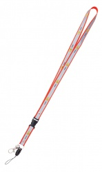 Reflexní klíčenka s potiskem smajlíka  AHOJ  - červená