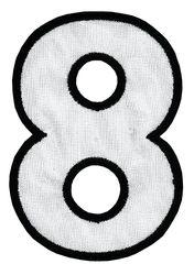 Nažehlovací vyšívaná čísla - osmička bílá, výška 8cm