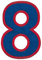 Nažehlovací vyšívaná čísla - osmička modrá, výška 8cm