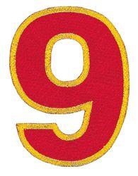 Nažehlovací vyšívaná čísla - devítka červená, výška 8cm