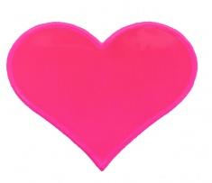 Reflexní samolepka srdíčko růžové, balení 5 ks