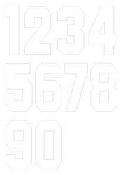 Nažehlovací čísla na dresy, výška 15cm, sada bílá
