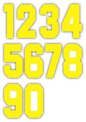 Nažehlovací čísla na dresy, výška 7,5cm, sada žlutá
