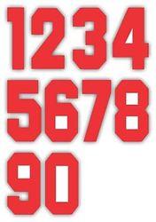 Nažehlovací čísla na dresy, výška 7,5cm, sada červená