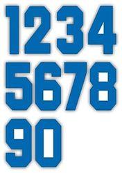 Nažehlovací čísla na dresy, výška 15cm, sada modrá