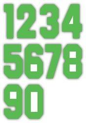 Nažehlovací čísla na dresy, výška 7,5cm, sada zelená