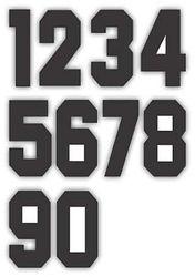 Nažehlovací čísla na dresy, výška 15cm, sada černá
