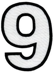 Nažehlovací vyšívaná čísla - devítká bílá, výška 8cm