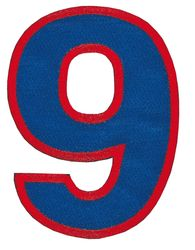 Nažehlovací vyšívaná čísla - devítka modrá, výška 8cm