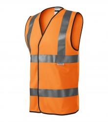 Reflexní vesta pro dospělé - 3 reflexní pruhy ORANŽOVÁ  EN ISO 20471:2013